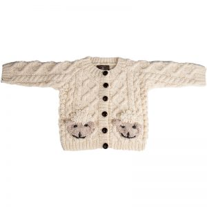 Handknit Aran sheep cardigan