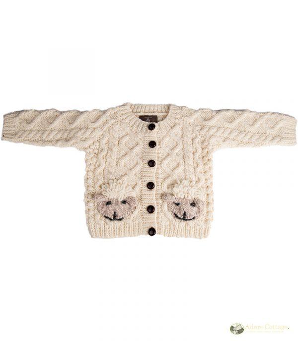 Handknit Aran sheep cardigan