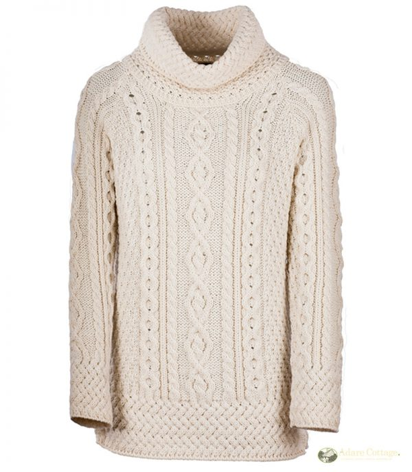 aran woollen mills aran roll neck sweater front