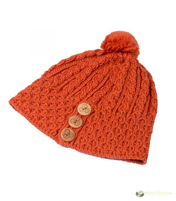 aran woollen mills ladies aran pom pom hat