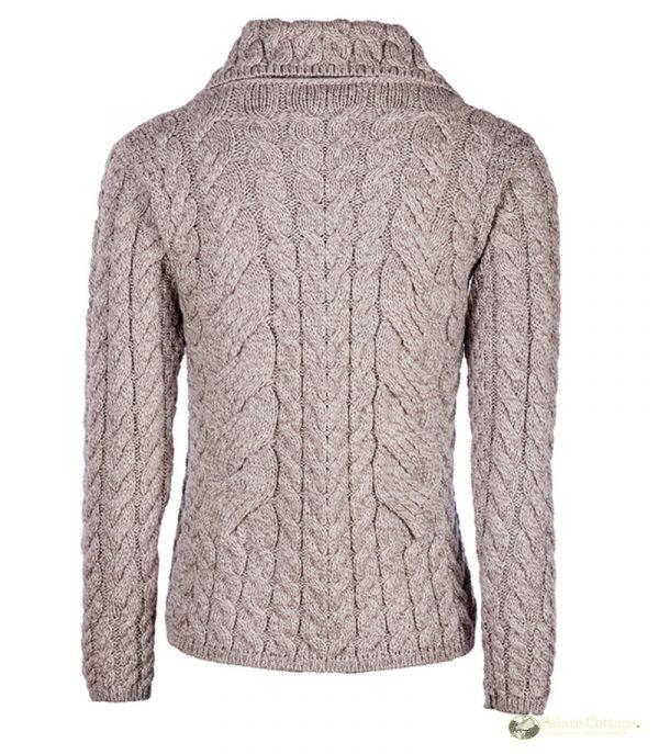 Aran Woollen Mills Ladies Beige Aran Buttoned Cardigan