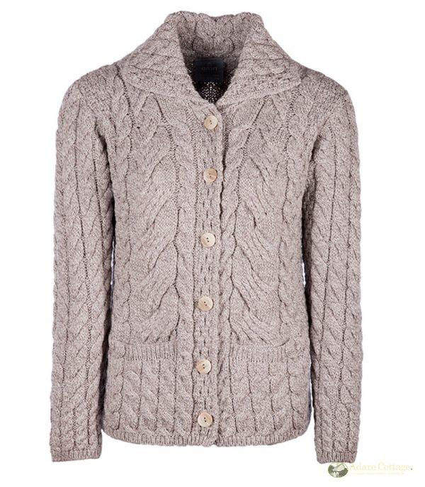 aran woollen mills ladies beige aran buttoned cardigan front 1