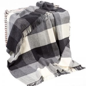 Cashmere Throw - Ecru Grey And Charcoal Block Check