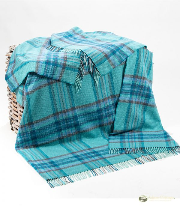 cashmere throw teal purple and duck egg