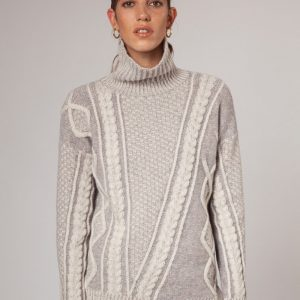 Ladies 2 tone plated Aran Pullover