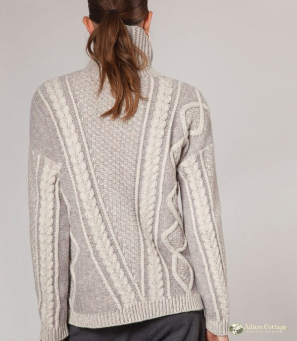 ladies 2 tone plated aran pullover 3