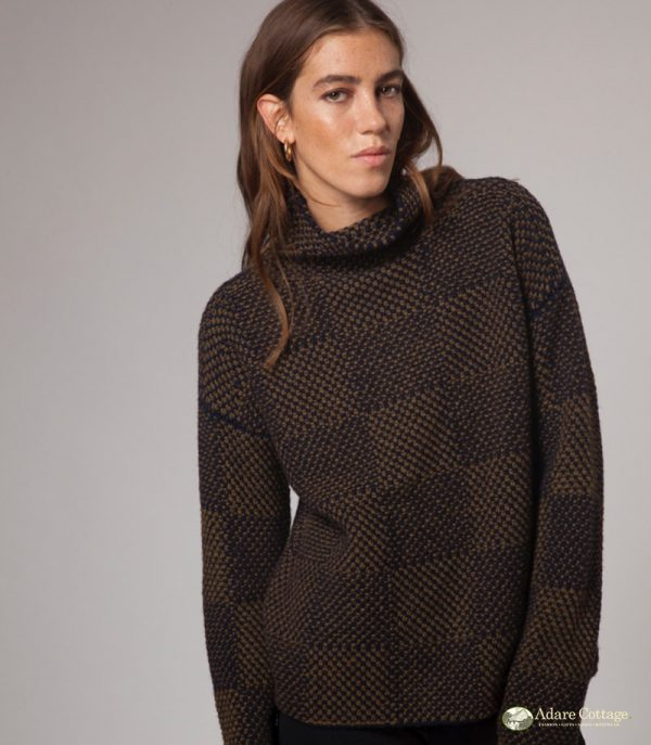 ladies wool funnel neck pullover 1