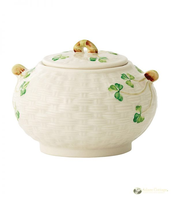 Belleek Sugar Bowl  Shamrock Sugar Bowl