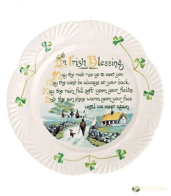 Belleek Wall Plate  Harp Irish Blessing Plate