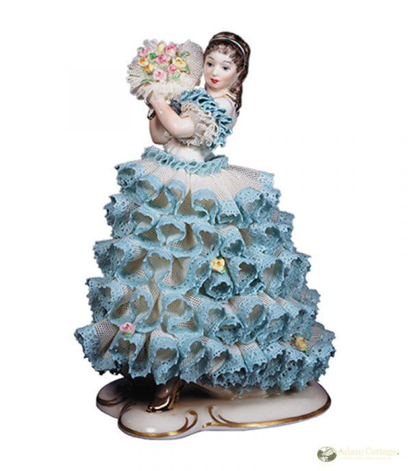 Irish Dresden Porcelain Rose of Tralee Figurine -Blue