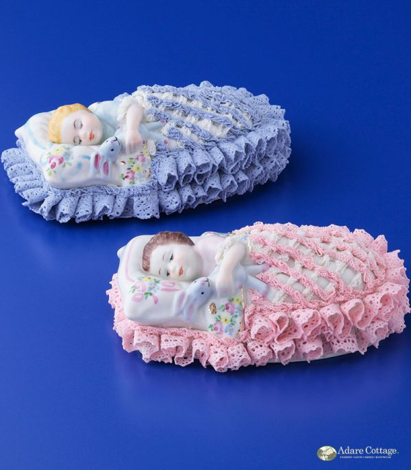 Irish Dresden Porcelain Sweet Dreamer Figurine -Pink,blue