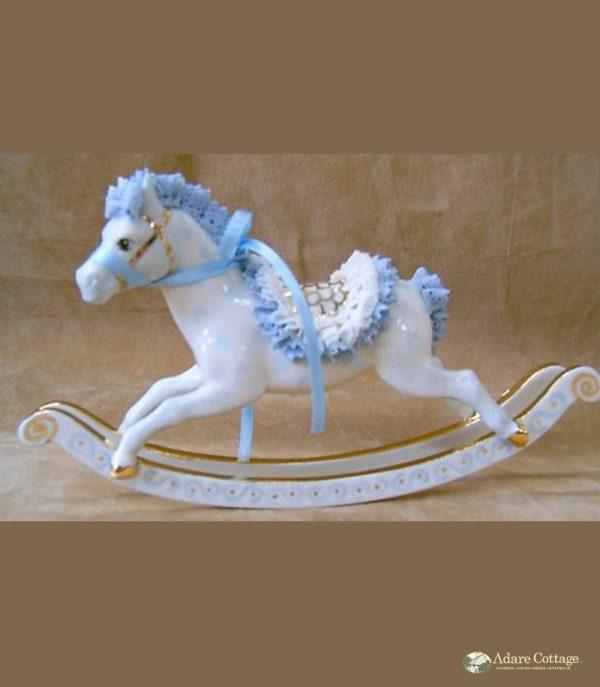 Irish Dresden Porcelain Rocking Horse Figurine -Blue, pink