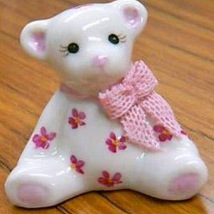 Irish Dresden Porcelain Teddy Figurine -Pink,blue