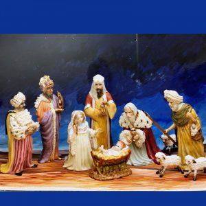 Irish Dresden Porcelain Nativity Figurine set of 9 -Multi
