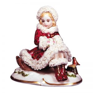Irish Dresden Porcelain Winter Figurine -Crimson