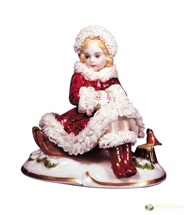 Irish Dresden Porcelain Winter Figurine -Crimson