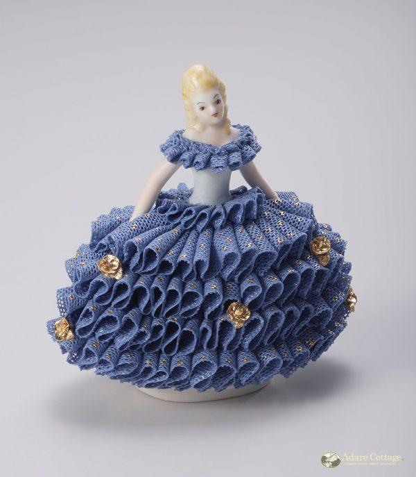 Irish Dresden Porcelain Margaret Figurine -Blue
