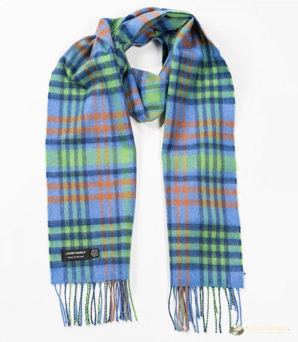 John Hanly & Co. Ladies scarf Denim bluelime green orangr