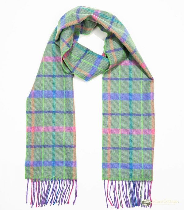 John Hanly & Co. Ladies scarf Green.purple pink