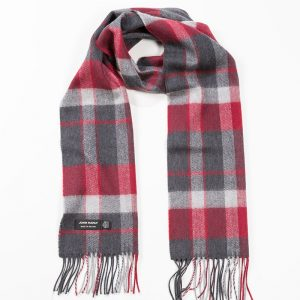 John Hanly & Co. Ladies scarf Charcoal silver red