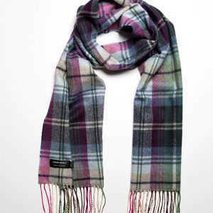 John Hanly & Co. Ladies scarf Green blue pink plaid