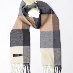 John Hanly & Co. Mens scarf Cream camel charcoal