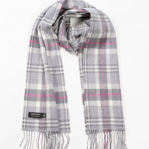 John Hanly & Co. Ladies scarf Soft grey white pink