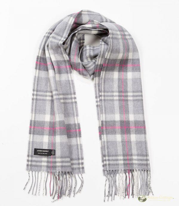 John Hanly & Co. Ladies scarf Soft grey white pink