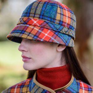 Mucros Weavers Ladies Flapper Hat Orange blue check