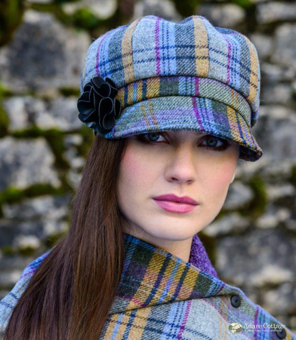 Mucros Weavers Ladies Newsboy Hat Blue gold purple check