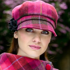 Mucros Weavers Ladies Newsboy Hat Fuschia pink