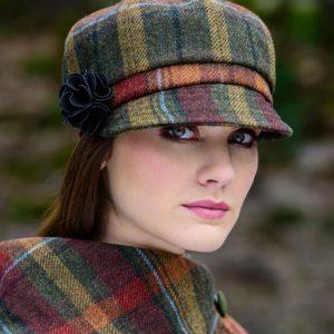 Mucros Weavers Ladies Newsboy Hat Autumnal check