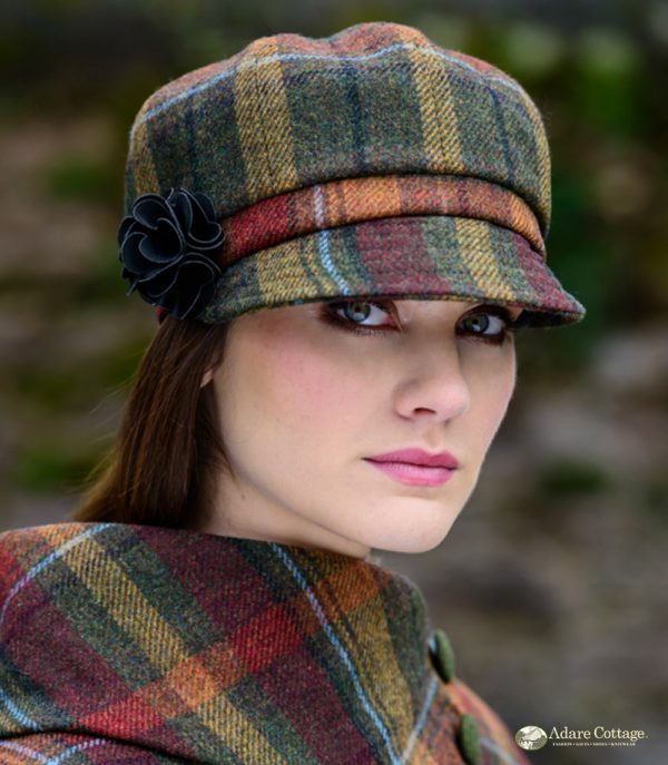 Mucros Weavers Ladies Newsboy Hat Autumnal check