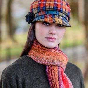 Mucros Weavers Ladies Newsboy Hat Orange blue check