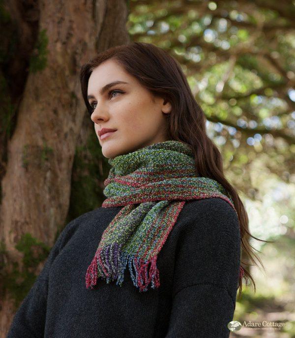 Mucros Weavers Ladies Skellig Scarf Green purple