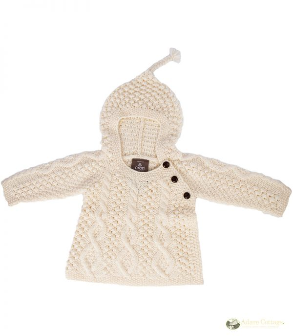 Aran Woollen Mills Handknit Aran baby hoodie Natural Colour