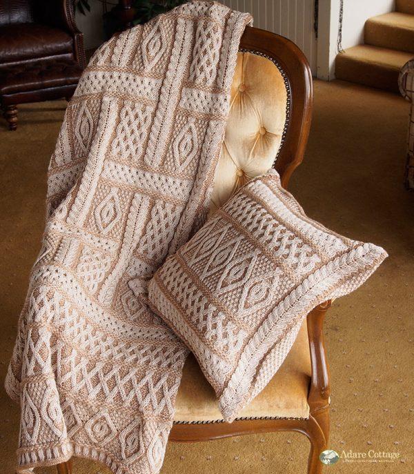 Westend Aran Throw Beige Blankets & Throws Homeware