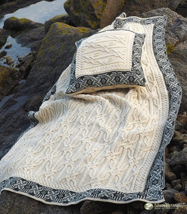 Westend Aran Throw with Border Natural Blankets & Throws Homeware