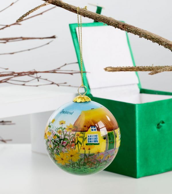 ACS Hand Painted Ball Ball Yellow Hanging 3 DCDC800900 scaled