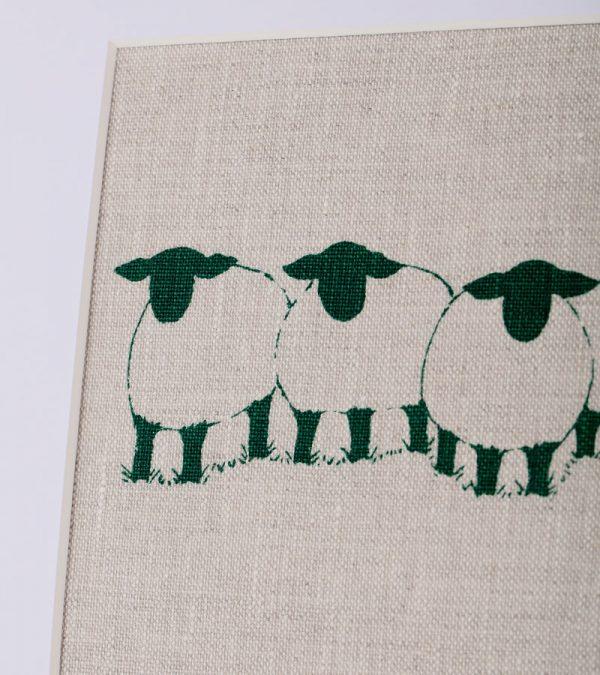 ACS Linen Lane Suffolk Sheep Group Medium Print Close up